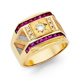 14K Yellow Gold CZ Men's Ruby Ring